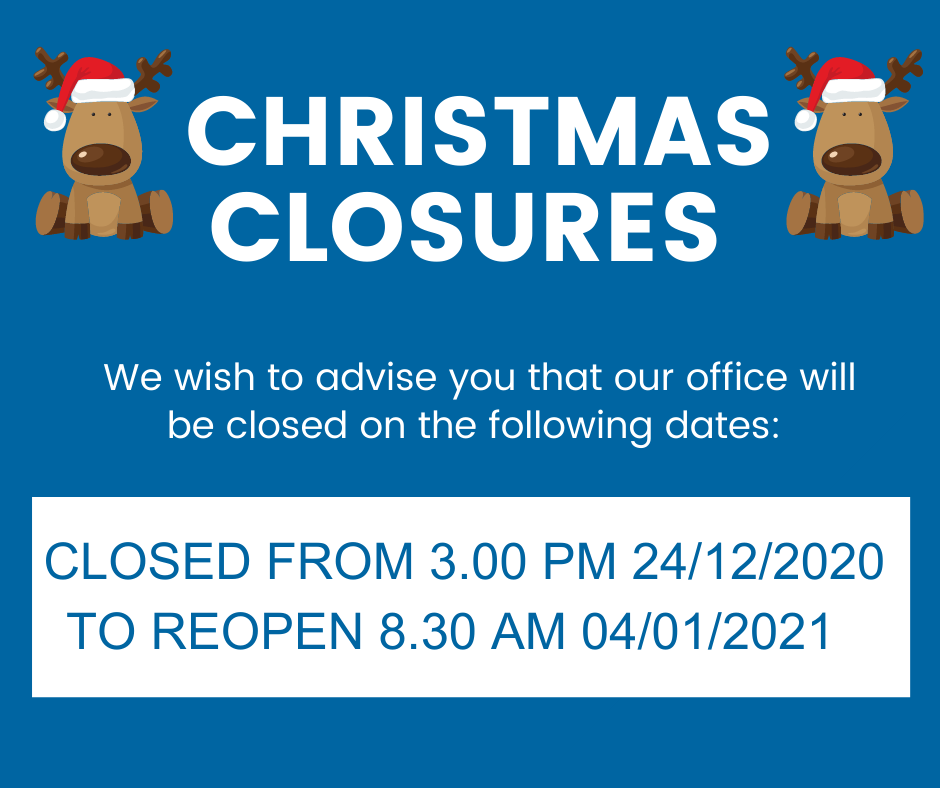 Christmas & New Year Closure Dates